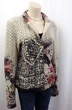 Lange Damen-Pullover mit mittlerer Strickart und Knöpfen mehrfarbige
