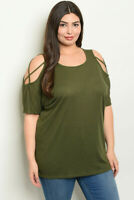 Womens Plus Size Olive Green Cold Shoulder Tunic Top 3X  Strappy Shoulders