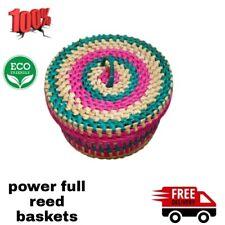 Handmade reed baskets Woven Vintage Natural Large Rattan Basket Holiday plams