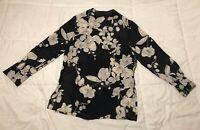 Peter Nygard Womens Sz4 Blouse Black/Cream Flowers Button-Down Silk Long Sleeves