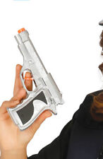 SILVER Detective Police Officer Gun Pistol Toy Fake Fancy Dress Accessory Prop