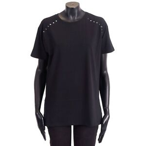 VALENTINO 790$ Rockstud Untitled Noir Crewneck Tshirt In Black Cotton Jersey