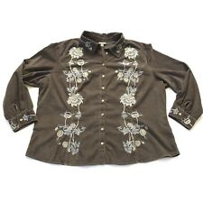 J.Jill Women's 3X Shirt Brown Corduroy Floral Embroidery Long Sleeve NWOT