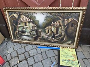 My grandmother's Hobbit Oil Painting On Canvas Signed By Artist Framed Old