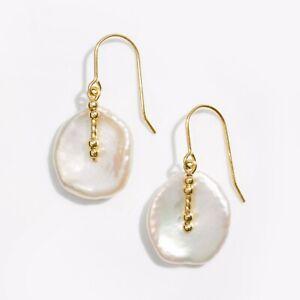 "Handmade!15MM White Baroque Keshi Pearl Earrings 14K Yellow Gold Filled,1.20"""