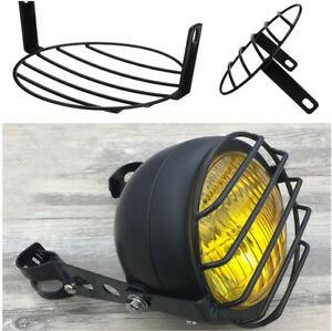 """7"""" Motorcycle Headlight Grill Metal Lattice Light Cover Protector Bblack Color"""