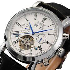 LUXURY JARAGAR SKELETON DIAL Calendar Automatic mechanical Leather Men's Watch