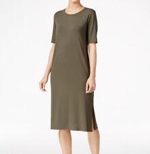 $198 PS  Eileen Fisher Oregano Round Neck Midi T-Shirt Dress New Petites