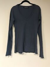 Groceries Apparel Steel Blue V-Neck Long Sleeve T Shirt SZ. MED. Organic Cotton
