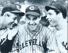 "LOU GEHRIG, BOB FELLER & JOE DiMAGGIO -GLOSSY 8""x10"" PHOTO- HALL of FAME LEGENDS"