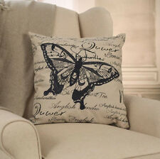 Grey Butterfly Script Cushion Cover French Provincial Throw Pillow Decor NEW