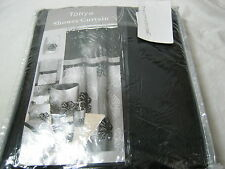 New Popular Bath Tonya Black Grey Gray Applique Floral Fabric Shower Curtain NIP