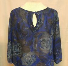 JMS Just My Size Womens Plus Sz 1X Blouse Blue Gray Floral Sheer Polyester EUC