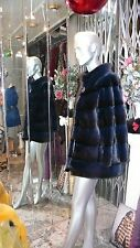GORGEOUS NWT Winter 2015-16 ROYAL BLUE MINK FUR Coat DENMARK SAGA SELECT