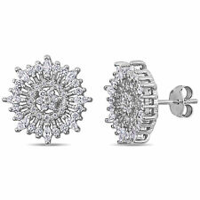 Amour Sterling Silver Cubic Zirconia Floral Cluster Stud Earrings