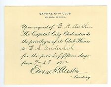 Sept 28, 1912 Capital City Club, Atlanta, Georgia Membership Pass