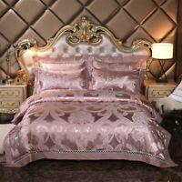 Silver golden queen king size bedding set Luxury silk satin bed set bed linen