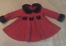 baby girls jessica ann 6-12-18 mo red/black houndstooth faux fur trim dress