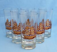 VINTAGE CULVER COLUMBIA SET OF 6 HIGHBALL GLASS TUMBLERS GOLD SHIP