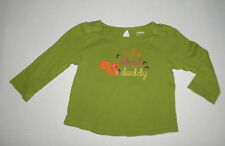GYMBOREE FALL FOR AUTUMN GREEN NUTS ABOUT DADDY TOP GIRLS 18 24 MO COTTON