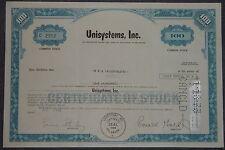 USA: Unisystems, Inc. 1972 100 shares