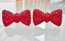 Sparkly Red Christmas Bow Crystal Diamante Rhinestone Stud Earrings