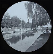 c1890s Magic Lantern Slide Photo View On The River Thames Uni Barges Oxford