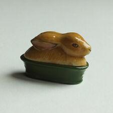 Dollhouse Miniatures: a two-part lidded porcelain casserole dish - rabbit
