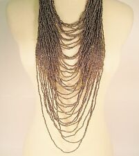 """45"""" VERY LONG Multi Strand Handmade Silver Bohemian Style Seed Bead Necklace"""