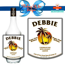PERSONALISED CARIBBEAN COCONUT RUM BOTTLE LABEL BIRTHDAY ANY OCCASION GIFT