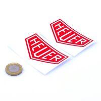 Heuer Red Stickers Classic Racing Vinyl Decals 75mm x2 F1 Rally