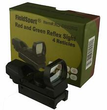 Field Sport Tactical Holographic Red Green Dot Sight 4 Reticle Weaver 20mm Rails