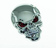 SILVER 3D Skull Zinc Alloy Metal Emblem Sticker f. Car Motorcycle etc TANKPADS24