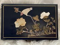 Vintage Chinoiserie Laquered Jade Soapstone Jewelry Box Asian Birds Bamboo