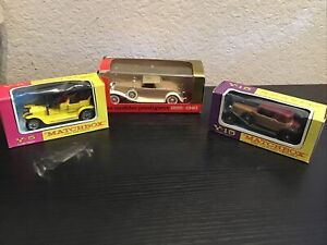 Lot Of 3 MATCHBOX  yesteryear Y-15 1930 Packard Victoria, 1907 Peugeot, Solido