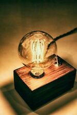 Industrial Vintage Wood Retro LOFT Table Desk Lamp Wooden Edison Light