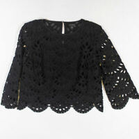Ann Taylor Black Sheer Allover Eyelet Lace Long Sleeve Blouse Shirt Top Medium