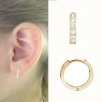 10K Solid Gold Baby Kids CZ Huggie Hoop Earrings 10mm (Yellow or White)
