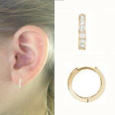 52d89a4052412 Cubic Zirconia Hoop Yellow Gold Fine Gemstone Earrings for sale   eBay