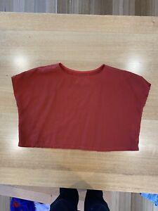 Kuwaii Rust Colour, Linen Cotton Top, Size XS
