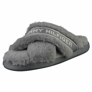 Tommy Hilfiger Furry Home Womens Steam Grey Slippers Shoes - 6 US