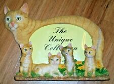 "Ceramic 3D Cat With Kittens Figurine Standing Picture Frame Holds 6""X4"" Picture"