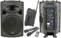 QTX 178.846 Mains/Rechargeable Portable PA Unit 2x VHF Microphones Included New