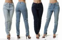 Ex Mango WOMEN's Denim Blue Slim Straight Boyfriend High Waist Jeans Long Pants