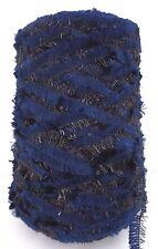 CHENILLE LUREX Yarn - Cone - Blue with Black Lurex - Fantastic - 17.5 Oz
