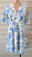 Dotti Dress Size 8 Small Blue White Floral Skater Dress Exposed Zip