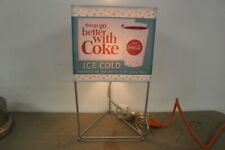 Rare 3 Sided Vintage 1960's Coca Cola Soda Pop Table Lamp Light Sign