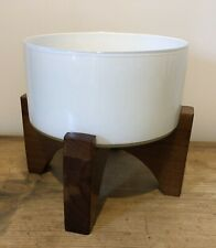 Mid Century Scandinavian Style Plant Holder Pot Container Glass Wood