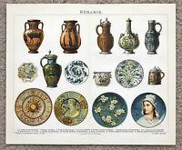 1885 Ceramic Keramik Lithograph Delft Majolica Original German Color Brockhaus