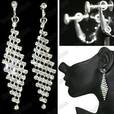 "CLIP ON 2.75""long rhinestone CRYSTAL DROP EARRINGS screw SILVER FASHION sparkly"